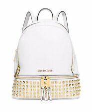 New Michael Kors Rhea Small Backpack gold studded optic white leather Gold studs