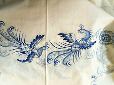 Embroidered Tablecloth Napkins BEIGE/BLUE Quetzal Birds & Flowers 50 x 68 Oblong
