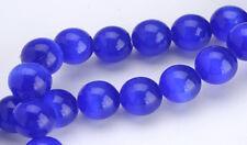 Deep Blue Cats Eye Round Glass Beads 6MM
