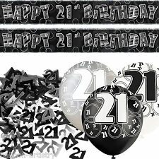 Black Silver Glitz 21st Birthday Banner Party Decoration Pack Kit Set