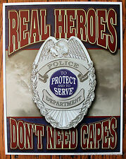 Police Dept Tin Sign Picture Policemen protect serve Wall Hanging picture Cop