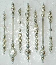 100% Vintage SILVER Mercury Glass Bead Icicle Ornaments Christmas Garland