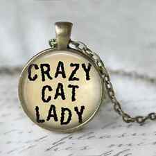 Crazy Cat Lady, Altered Art Cameo Pendant Necklace, Cabochon Jewellery, Bronze