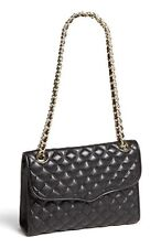 NWT Rebecca Minkoff Quilted AFFAIR Leather BLACK Bag Gold Chain $295 AUTH
