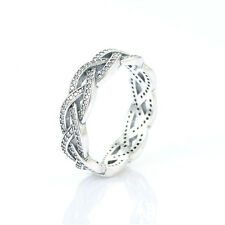 SIZE 56 SOLID 925 STERLING SILVER CUBIC ZIRCONIA ENCRUSTED CRISS CROSS RING BAND