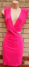 PINK FUCHSIA CUT OUT SIDE V NECK TUBE LYCRA STRETCH BODYCON PENCIL DRESS 12 M