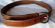 RANGER WB505 BASKET WOVEN EMBOSSED ROUND METAL DOT FUR LIKE LEATHER BELT 34