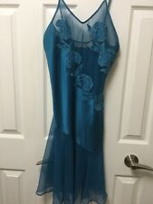 Vtg VICTORIA'S SECRET Satin & Lace Teal NIGHTGOWN Size Small