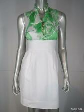 $395 SHOSHANNA 2 XS White Green Silk Top Cotton Skirt Sheath Ruffle Dress EUC