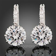 Women 18K White Gold Austrian Swarovski Crystal Diamond Zircon Earrings Ear Stud
