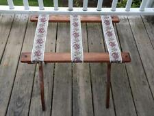 Vintage Handmade Wooden Folding Luggage Rack Rose Straps Nice Grain