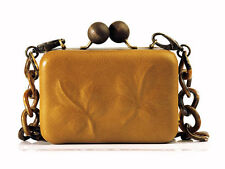 NWOT $395 ERVA CALFSKIN LEATHER CLUTCH Purse YELLOW OCHRE EVENING Handbag