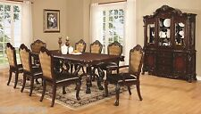Formal Luxurious 9p Dining Set of Table & Chairs in Dark Cheery w Claw feet