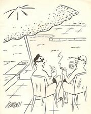 """Karnes Original Art - Rich Guy by Pool Gag - 1960 - (9 x 11"""")"""