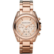 NEW MICHAEL KORS LADIES BLAIR GLITZ ROSE GOLD CHRONO WATCH - MK5263 - RRP £229