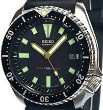 "Vintage mens watch SEIKO diver 7002 mod w/Army Green BAYONET & ""Box"" SS hand set"