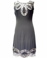 Grey Vintage 1920s Flapper Gatsby Downton Abbey Fringe Beaded Dress Size 8-24