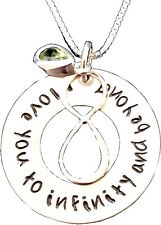 Personalized Mommy - Hand Stamped Necklace - I love you to infinity & beyond