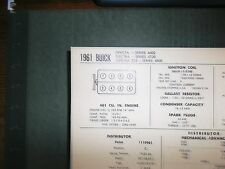 1961 Buick Invicta Electra 225 Models 401 V8 SUN Tune Up Chart Sheet Great Shape