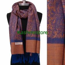 New Pashmina Paisley Floral Silk Wool Scarf Wrap Shawl Soft Salmon/Blue #e305y