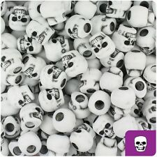 150 White Antique 11mm Skull Pony Beads Made in the USA