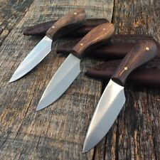 3 PC LOT DROP BLADE Patch Knife Burl-wood Handle With Leather Sheath DH-7989-3