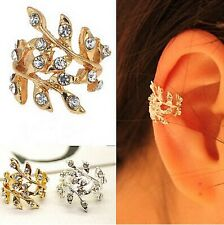 UK STOCK LEAF White Gold Plated  Crystal Diamonte Punk Ear Cuff Earring Clip On