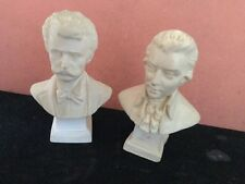 A Fine Pair of Old Composition Busts of The Composers Mozart And Strauss