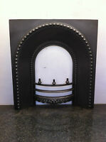 Original Restored Antique Cast Iron Victorian Fireplace Arched Insert (EM023)