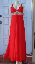 TONY BOWLS EVENING RED CRYSTAL DETAIL SLEEVELESS FORMAL GOWN DRESS Sz 16
