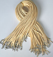 Wholesale price 10 strips Beige Suede Leather String 20 inch Necklace Cord hot