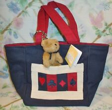 NEW BOYDS ACE'S SMALL TOTE BAG NAVY & RED CARD THEME W/ PLUSH BEAR KEYCHAIN