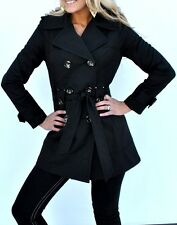 New Womens Jones New York Trench Coat Rain Coat Black Belted Double Breasted L