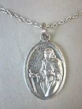 """Silver Plated St Juan Diego Medal Italy Pendant Necklace 20"""" Chain"""
