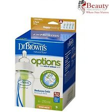 Dr Brown's Options Wide Neck Four Bottle (270 ml, Pack of 4)