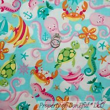 BonEful Fabric FQ Cotton Quilt Aqua Pink Octopus Sea Horse Crab Star Fish Turtle