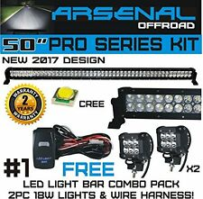 "No.1 50"" 288W CREE Combo Offroad LED Light Bar +18W Spot LED Light 2 Wiring Kits"
