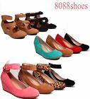 Women's Cute Causal  Round Toe Low  Wedge Platform Heel Shoe All Size 5 - 10 NEW