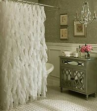 "Cascade Shabby Chic Ruffled Shower Curtain, 70"" wide & 72"" long, Ivory, Lorraine"