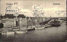 Stockholm Schweden Sverige gut frankierte AK 1915 Strandvägen Hafen Schiffe Boot