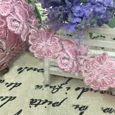 1 Yard Embroidered Lace Edge Trim Flower Pink Ribbon Dressmaking Sewing Craft