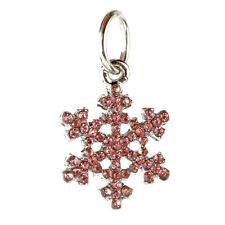 European 925 Silver Snowflake CZ Charm Beads Fit sterling Necklace Bracelet AA89