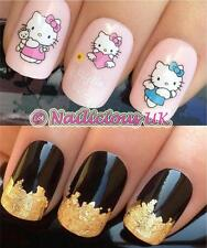 NAIL ART SET #102. HELLO KITTY ANGEL WATER TRANSFERS/DECALS/STICKERS & GOLD LEAF