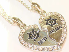 NEW BEST FRIEND Boat Helm Heart Silver Tone 2 Pendants Necklace BFF Friendship