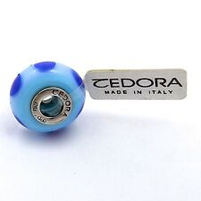 TEDORA STERLING SILVER LIGHT BLUE WITH BLUE DOTS MURANO GLASS BEAD CHARM NEW