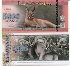 LA SAVANNA 5000 FRANCS 2015 SPECIMEN BANKNOTE UNC CARACAL CAT