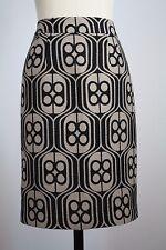Trina Turk Brown Black Metallic Gold Wool Blend Straight Pencil Skirt Size 8