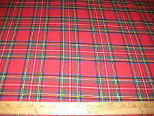"Red Stewart Plaid 100% Cotton Flannel Fabric 58"" Wide Sold By The Yard"
