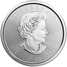 Silver 2016 Maple Leaf 1 oz coin .9999 Canada $5 Leaf 1oz. Silver Leaf