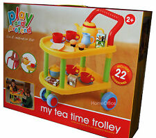 Kids Tea Time Trolley Pretend Play Come With 22 Piece Accessory Set
